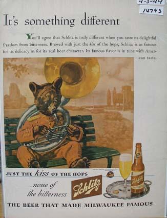 Schlitz Something Different Ad 1944