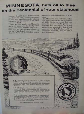 Great Northern RR Minnesota Ad 1958