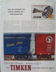 Timken Bearings for Railroads Ad 1958