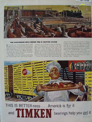 Timken Bearings For Faster Railroads Ad 1958