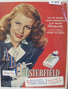 Chesterfield Cigarettes Rita Hayworth Ad 1947