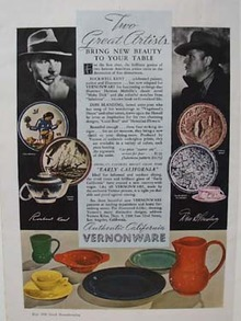 Vernonware Dishes Great Artists Ad 1939