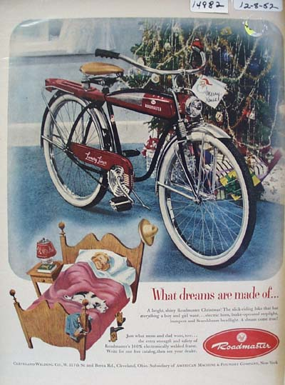 Roadmaster Bicycle Christmas Ad 1952