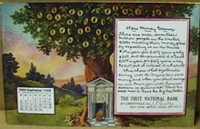 Calendar September 1909 Bank Postcard