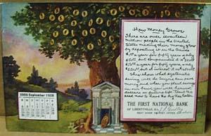 Calendar September 1909 Bank Postcard