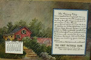 Calendar April 1910 Bank Postcard,