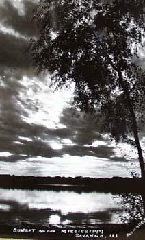Photo Card Savanna Ill Palisades sunset postcard.