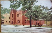City Hall Moline Illinois postcard, 1907 postcard