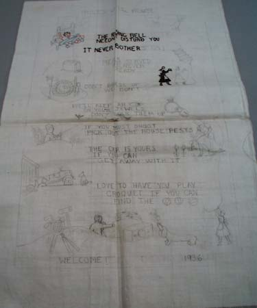1936 Rules of the House embroidery on Nearlinen,
