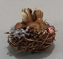 Enesco Lovebirds in Rattan Nest,