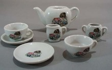 Childs toy Tea set, Hollie little girl & dog.