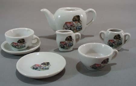 Childs toy Tea set, Hollie little girl & dog.