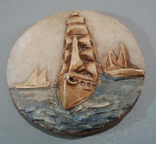 Wall Plaque 3D ship in Chalk/Plaster.