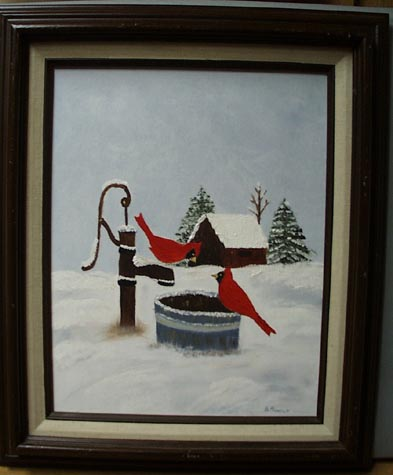Hanold Painting of 2 Cardinal Birds by water pump.