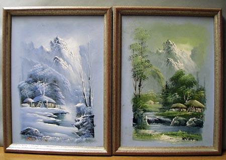 Pr of Sim JH paintings, These look oriental