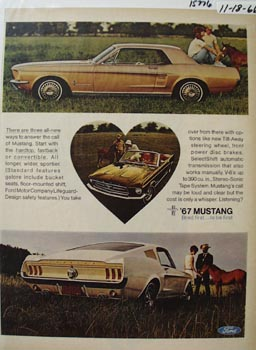 Ford Mustang Three Ways Ad 1966