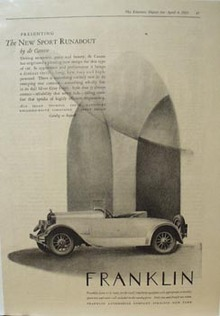 Franklin Sport Runabout Ad 1925