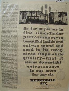 Hupmobile Six Auto Far Superior Ad 1926