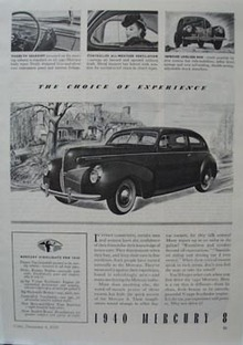 Mercury 8 Choice of Experience Ad 1939