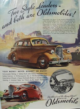 Oldsmobile Two Style Leaders Ad 1937