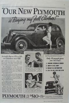 Plymouth Buying my Fall Clothes Ad 1935