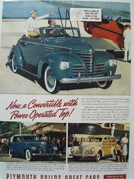 Plymouth With Power Operated Top Ad 1939