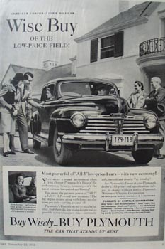 Plymouth Wise Buy Ad 1941