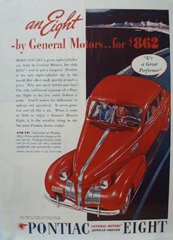 Pontiac Great Performer Ad 1939