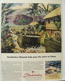 Studebaker Weasels pace drive to Tokyo Ad 1945.