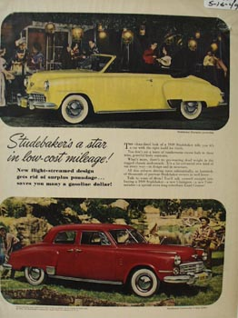 Studebaker Low Cost Mileage Ad 1949