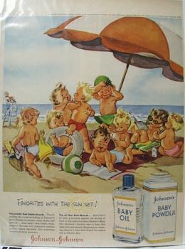 Johnson's Baby Oil & Babies at Beach Ad 1956