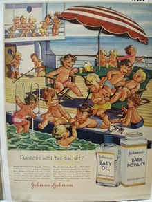 Johnson's Baby Oil & Babies on Boat Ad 1956