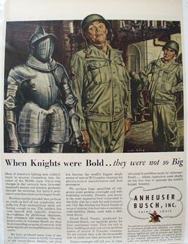 Anheuser Busch When Knights were Bold Ad 1945