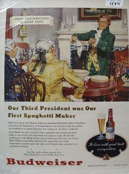 Budweiser Our Third President Ad 1948