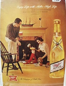 Miller Beer and Fireplace Ad 1962