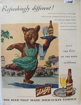 Schlitz Beer Refreshingly Different Ad 1945