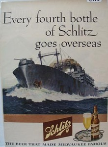 Schlitz Beer Goes Overseas Ad 1945