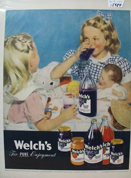Welch's Juice And Girls With Dolls Ad 1947