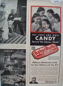 Baby Ruth Candy & Dionne Quints Ad 1941