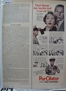 PurOlator Oil Filter George Burns Ad 1952