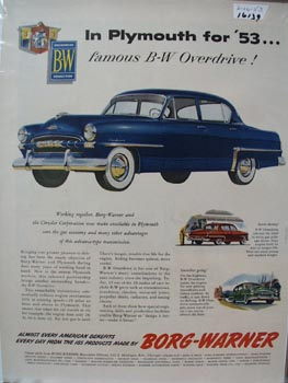 Borg Warner In Plymouth for '53 Ad 1953