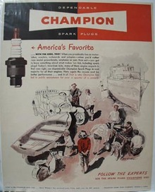 Champion Spark Plug America's Favorite Ad 1949