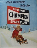 Champion Spark Plugs Cold Weather Ad 1951