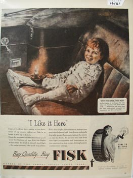 Fisk Tire I Like It Here Ad 1946