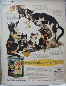 Puss 'N Boots Cats & Butterflies Ad 1951