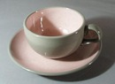 Harkerware Stoneware China in Pink Cup and Saucer