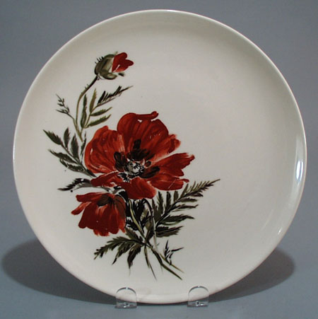 Hand Painted Poppies Dinner Plate