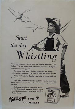 Kellogg's Start the Day Whistling Ad 1934