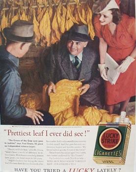Lucky Strike Prettiest Leaf Ad 1940