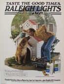 Raleigh Cigarettes Dog & Dog House Ad 1979